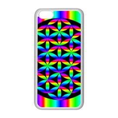 Rainbow Flower Of Life In Black Circle Apple Iphone 5c Seamless Case (white)