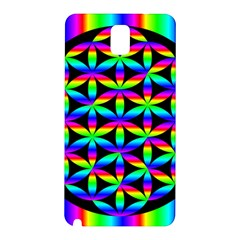 Rainbow Flower Of Life In Black Circle Samsung Galaxy Note 3 N9005 Hardshell Back Case