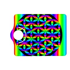 Rainbow Flower Of Life In Black Circle Kindle Fire Hd (2013) Flip 360 Case