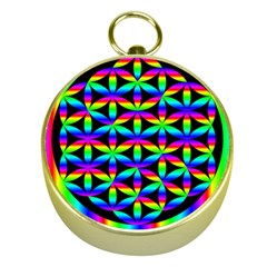 Rainbow Flower Of Life In Black Circle Gold Compasses