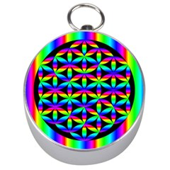 Rainbow Flower Of Life In Black Circle Silver Compasses