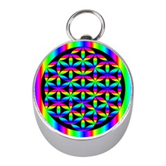 Rainbow Flower Of Life In Black Circle Mini Silver Compasses