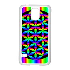 Rainbow Flower Of Life In Black Circle Samsung Galaxy S5 Case (white)