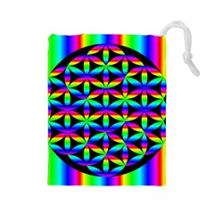 Rainbow Flower Of Life In Black Circle Drawstring Pouches (large)