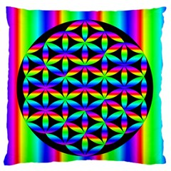 Rainbow Flower Of Life In Black Circle Large Flano Cushion Case (two Sides)