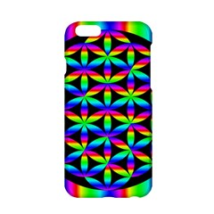 Rainbow Flower Of Life In Black Circle Apple Iphone 6/6s Hardshell Case