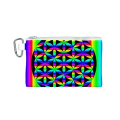 Rainbow Flower Of Life In Black Circle Canvas Cosmetic Bag (s)