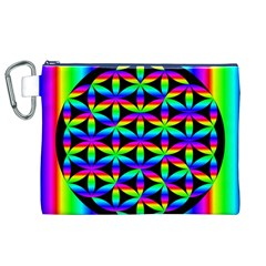 Rainbow Flower Of Life In Black Circle Canvas Cosmetic Bag (XL)