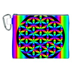Rainbow Flower Of Life In Black Circle Canvas Cosmetic Bag (xxl)