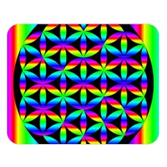 Rainbow Flower Of Life In Black Circle Double Sided Flano Blanket (large)