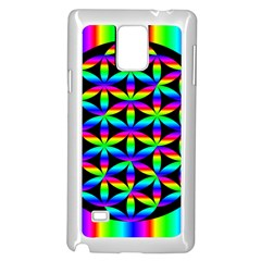 Rainbow Flower Of Life In Black Circle Samsung Galaxy Note 4 Case (white)