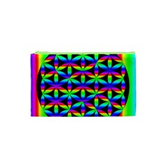 Rainbow Flower Of Life In Black Circle Cosmetic Bag (xs)