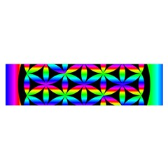 Rainbow Flower Of Life In Black Circle Satin Scarf (oblong)