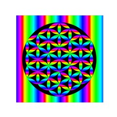 Rainbow Flower Of Life In Black Circle Small Satin Scarf (square)