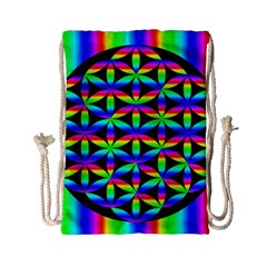 Rainbow Flower Of Life In Black Circle Drawstring Bag (small)