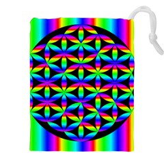 Rainbow Flower Of Life In Black Circle Drawstring Pouches (XXL)