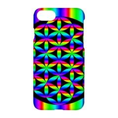 Rainbow Flower Of Life In Black Circle Apple Iphone 7 Hardshell Case