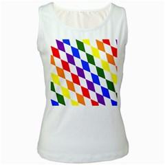 Rainbow Flag Bavaria Women s White Tank Top