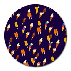 Seamless Ice Cream Pattern Round Mousepads