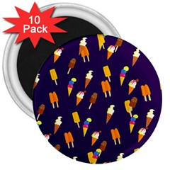 Seamless Ice Cream Pattern 3  Magnets (10 Pack)