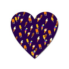 Seamless Ice Cream Pattern Heart Magnet