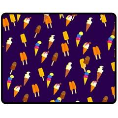 Seamless Ice Cream Pattern Fleece Blanket (Medium)