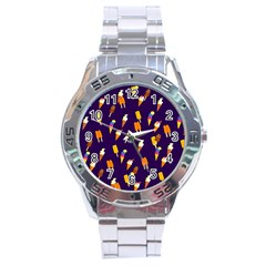 Seamless Ice Cream Pattern Stainless Steel Analogue Watch