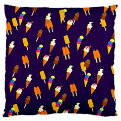 Seamless Ice Cream Pattern Large Flano Cushion Case (Two Sides)