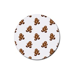 Gingerbread Seamless Pattern Rubber Round Coaster (4 pack)
