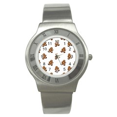 Gingerbread Seamless Pattern Stainless Steel Watch