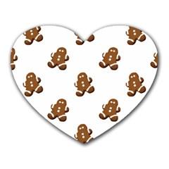 Gingerbread Seamless Pattern Heart Mousepads