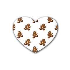 Gingerbread Seamless Pattern Rubber Coaster (Heart)
