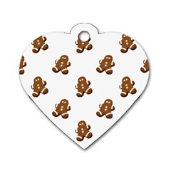 Gingerbread Seamless Pattern Dog Tag Heart (Two Sides)