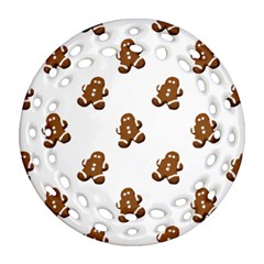 Gingerbread Seamless Pattern Round Filigree Ornament (two Sides)