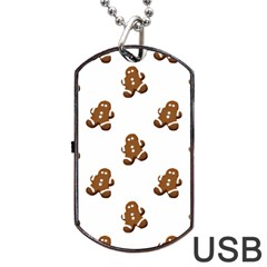 Gingerbread Seamless Pattern Dog Tag USB Flash (One Side)