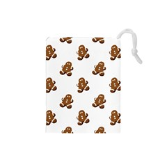 Gingerbread Seamless Pattern Drawstring Pouches (small)