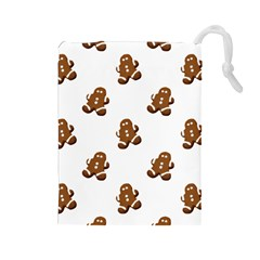 Gingerbread Seamless Pattern Drawstring Pouches (large)