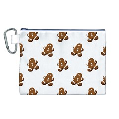 Gingerbread Seamless Pattern Canvas Cosmetic Bag (l)