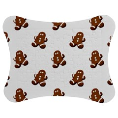 Gingerbread Seamless Pattern Jigsaw Puzzle Photo Stand (Bow)