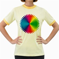 Rainbow Seal Re Imagined Women s Fitted Ringer T Shirts
