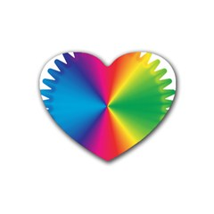 Rainbow Seal Re Imagined Rubber Coaster (heart)