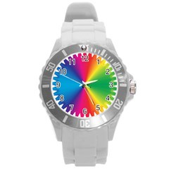 Rainbow Seal Re Imagined Round Plastic Sport Watch (l)