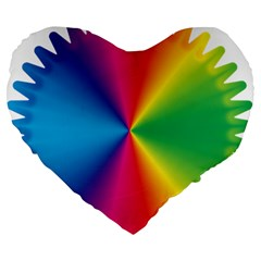 Rainbow Seal Re Imagined Large 19  Premium Flano Heart Shape Cushions