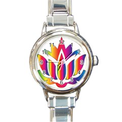 Rainbow Lotus Flower Silhouette Round Italian Charm Watch