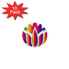 Rainbow Lotus Flower Silhouette 1  Mini Buttons (10 Pack)