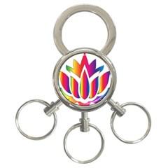 Rainbow Lotus Flower Silhouette 3 Ring Key Chains