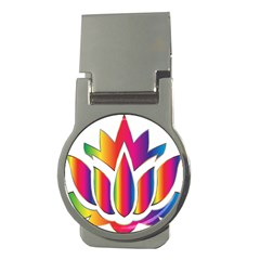 Rainbow Lotus Flower Silhouette Money Clips (Round)