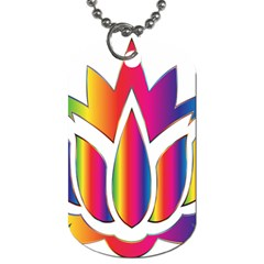 Rainbow Lotus Flower Silhouette Dog Tag (Two Sides)