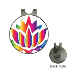 Rainbow Lotus Flower Silhouette Hat Clips With Golf Markers