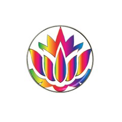 Rainbow Lotus Flower Silhouette Hat Clip Ball Marker (10 Pack)